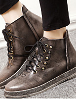 Women's Shoes Leather Spring Round Toe Boots Outdoor / Casual Chunky Heel Beading /  Brown / Taupe
