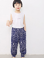 Girl's Casual/Daily Floral Pants,Cotton / Spandex Summer / Spring / Fall Black / Blue / Green