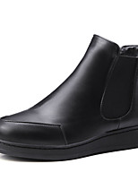 Women's Shoes PU Fall Riding Boots / Bootie / Round Toe Boots Outdoor / Casual Flat Heel Slip-on Black