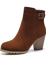 Women's Shoes Fleece Fall/ Round Toe Boots Office & Career / Casual Chunky Heel BuckleBlack / Brown / Gray / Almond
