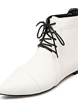 Chaussures Femme-Habillé / Décontracté-Noir / Rouge / Blanc-Talon Plat-Bout Pointu / Bottes à la Mode / Bottine-Bottes-Similicuir