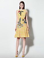 Boutique S Women's Going out Simple Skater Dress,Striped Round Neck Knee-length Sleeveless Yellow Polyester Summer