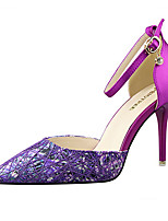 Women's Shoes Satin Mesh Floral Basic Pump / Pointed Toe / Closed Toe Heels Office & Career / Party & Evening / Dress