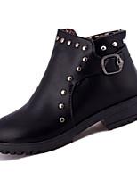 Damen-Stiefel-Lässig-PU-Niedriger Absatz-Modische Stiefel-Schwarz