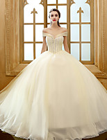 A-line Wedding Dress Watteau Train Strapless Tulle with Beading
