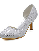 Women's Shoes Silk Stiletto Heel Heels / Round Toe Heels Wedding / Party & Evening / Dress White