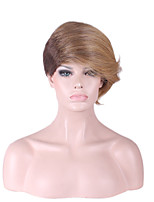 Women Synthetic Wig Capless Short Straight Medium Brown/Strawberry Blonde Ombre Hair Natural Wig Costume Wigs