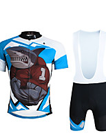 Cycyling PaladinSport Men Shirt + Straps Shorts Suit BKT643 Shark's Anger