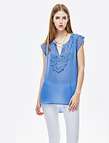 Heart Soul® Women's V Neck Sleeveless T Shirt Blue-11AA27322