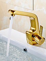 Gold Plated Single Handle Countertop Brass Basin Faucet Mixe