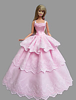 Poupée Barbie-Rose-Princesse-Robes- enCoton / Satin