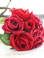 1 Une succursale Polyester Plastique Roses Fleur de Table Fleurs artificielles 7*4