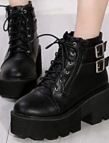 Women's Shoes Leather Winter Combat Boots Boots Outdoor / Casual Wedge Heel Buckle / Lace-up Black