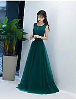 Formal Evening Dress Ball Gown Notched Sweep / Brush Train Lace / Satin / Tulle with Bow(s) / Lace / Sash / Ribbon