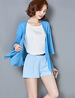 Women's Going out Street chic Summer Blouse,Solid Cowl ¾ Sleeve Blue Rayon Thin