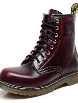 Women's Shoes Nappa Leather Spring / Fall / Winter Combat Boots Boots Outdoor / Casual Flat Heel Black / Brown / Red