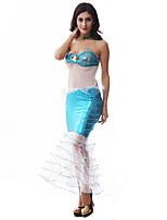 Costumes Déguisements de contes de fées / Mermaid Tail Halloween / Noël / Carnaval / Nouvel an Bleu Mosaïque Polyester Robe