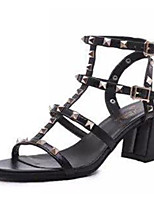 Women's Shoes PU Summer Open Toe Sandals Casual Chunky Heel Others Black / White / Silver