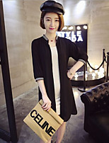 Women's Going out / Casual/Daily Simple Trench Coat,Solid / Patchwork Boat Summer White / Black Cotton / Polyester
