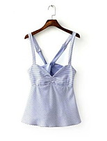 Women's Striped Blue Blouse,Strap Sleeveless
