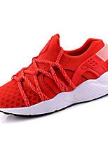 Da donna-Sneakers-Casual-Punta arrotondata-Piatto-Tulle-Nero / Rosso