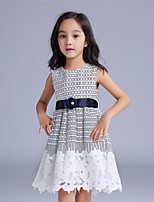 Girl's White Dress,Check Cotton / Polyester Summer / Spring