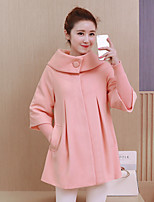 Women's Going out Cute Coat,Solid Shirt Collar ¾ Sleeve Fall / Winter Pink / Red / Black Polyester Thick