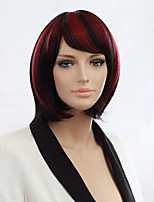 Women'S Black Highlights Red Short Bob Straight Fake Hair Heat Resistance Full Wig