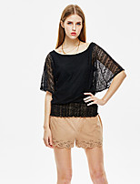 Damen Solide Einfach Ausgehen T-shirt,Rundhalsausschnitt Sommer ½ Länge Ärmel Weiß / Schwarz Polyester Dünn