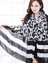 Printed Silk Scarves Striped Black Leopard Warm Scarf