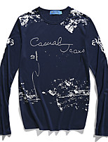 Men's Long Sleeve T-Shirt,Polyester Casual Print / Letter