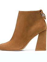 Women's Shoes Suede Chunky Heel Fashion Boots / Pointed Toe Boots Office & Career / Dress Black / Khaki