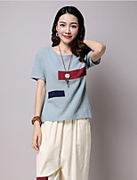 Women's Casual/Daily Summer T-shirt,Color Block Round Neck Short Sleeve Blue / Pink / White Cotton / Linen Thin