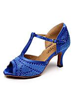 Chaussures de danse(Noir / Bleu / Violet) -Non Personnalisables-Talon Aiguille-Satin-Latine / Salsa