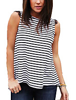 Women's Going out Sexy / Street chic Summer Tanks,Striped Round Neck Sleeveless White Rayon Thin