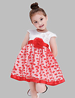 Girl's Red Dress,Patchwork Cotton / Polyester All Seasons