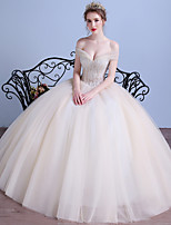 Ball Gown Wedding Dress Floor-length Off-the-shoulder Tulle with Crystal