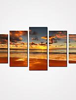 Set Tela / Unframed Stampa trasferimenti su tela Paesaggi / Natura morta / Tempo libero Modern / Realismo,Cinque Pannelli Tela Orizzontale