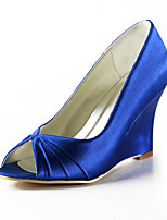 Women's Shoes Silk Wedge Heel Heels / Peep Toe Heels Wedding / Party & Evening / Dress Yellow / Pink / Purple / White