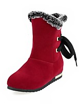 Women's Shoes Fleece Fall/Winter Wedges/Round Toe Boots Outdoor/Office & Career/Casual Wedge Heel Black/Brown/Red