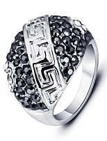 20160 Fashion Great Wall Ring Black Zircon Rhodium Plated Alloy Party Rings For Men