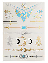 1pc Flash Metallic Waterproof Tattoo Gold Silver Flower Moon Bracelet Temporary Tattoo Sticker YH-012
