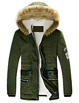 Men's Long Parka Coat,Polyester Solid / Letter Long Sleeve