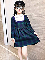 Girl's Casual/Daily Plaid Dress,Cotton Spring / Fall Green / Red