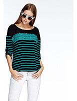 Women's Going out Simple Summer T-shirt,Striped Round Neck ¾ Sleeve Pink / Red / Green Polyester Thin