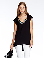 Women's Going out Simple Summer T-shirt,Solid V Neck Short Sleeve Black Polyester Thin
