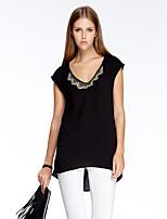 Heart Soul® Women's Round Neck Short Sleeve T Shirt Black-11AA23571