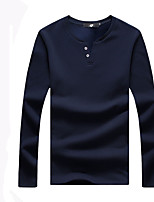 Men's Fashion Decorative Buttons V Collar Solid Casual Slim Fit Long-Sleeve T-Shirt, Cotton/Plus Size/Casual