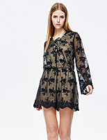 Heart Soul® Women's Round Neck Long Sleeve Mini Dress-11AA17995