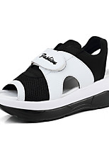 Women's Sandals Summer Wedges Fabric Casual Wedge Heel Others Silver / Black and White